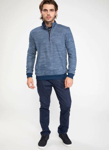 DeFacto Önden Fermuarlı Sweatshirt Mavi